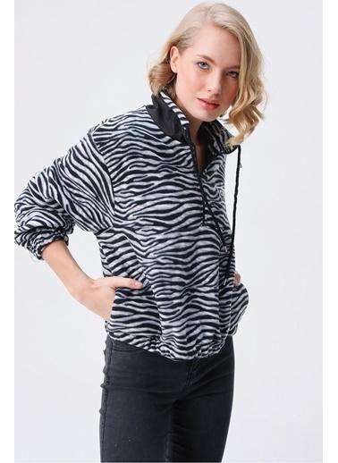 Butikburuç Kadın Siyah Beyaz Zebra Desen Sweat Siyah